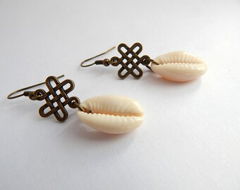 Cowry Shell Earrings Ethnic Dangle Cowrie Shell African Minimal Jewelry Modern
