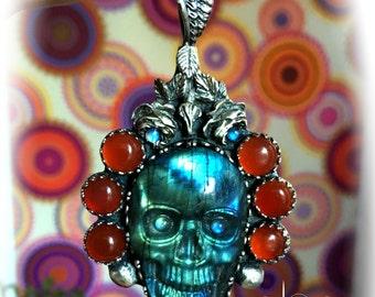 UNIQUE SKULL Silver Necklace - Labradorite Carnelian Moonstone Pendant - Boho Skull Pendant - Skull & Roses silver necklace - For COLLECTORS