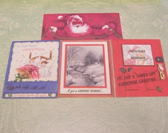 Four vintage retro Santa Claus Christmas greeting cards Night Before Christmas A Visit From St. Nick