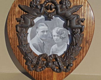 Heart Shaped Picture or Mirror Frame with Cast Iron Angel Wreath