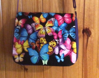 "Beautiful ""Butterflies"" Shoulder Bag w/ Purple Adjustable strap, & side panels. ""One of a Kind"" Washable, large pockets, durable."