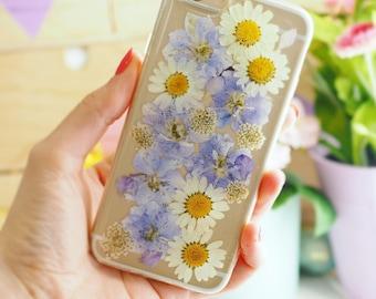 Powder Blue Pressed Flower Phone Case | Samsung & iPhone