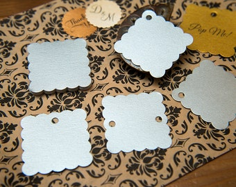 "Silver Pearlised 1.5"" Square Luxury Gift Tags, Blank Tags, Wishing Tree Tags, Wedding favour tags, Jewellery Tags, wedding favors 1.5 inch"