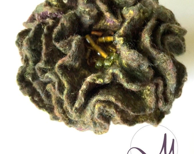 Dark Green Merino Wool Brooch Felted Floral Accessories Prom Corsage Flower Jacket Dress Pin Wedding Brooch Formal Wear Birthday Gift