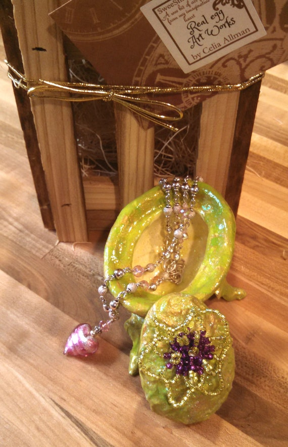 Beaded pedestal jewelry box Faberge real egg sculpture ring box green gold purple engagement gift wedding gift bridesmaid gift Mother's day