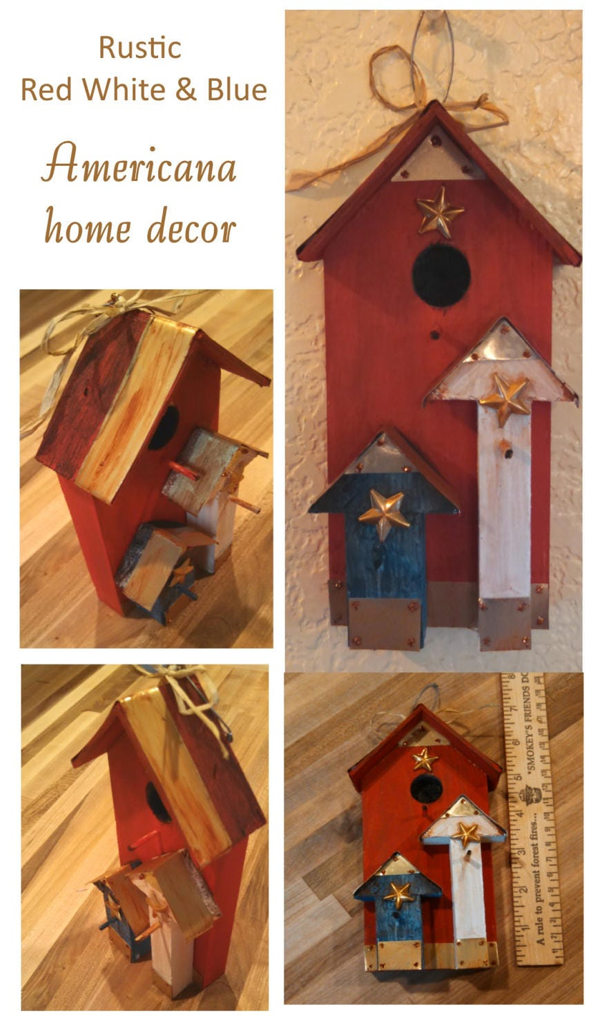Americana Home Decor silent rooster country home gift shop americana home decor br home Red White Blue Rustic Americana Table Top Home Decor Hanging Birdhouse 4th Of July Decor Tin Wood Brass Stars Patriotic Party Decor