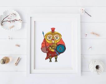 Spartan Owl, Watercolor Art Print