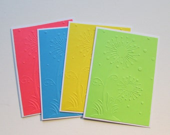 4 Embossed dandelion cards-blank card sets,all occasion assorted card sets,stationery,pretty teen cards,blank cards,handmade/homemade cards