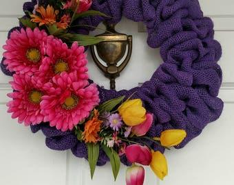 Gerber Daisy wreath, tulip wreath, spring wreath, summer wreath, burlap wreath