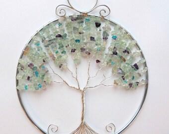 Fluorite Amethyst Apatite Tree of Life Suncatcher Ornament
