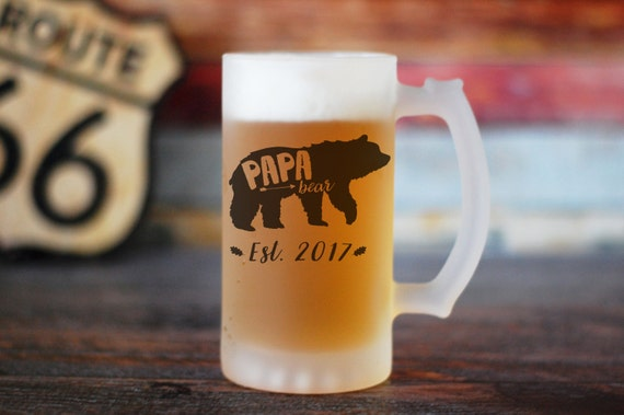 Papa Bear Beer Stein, Dad Beer Glass, Father Beer Mug, Gift for Dad, Baby Announcement, Baby Shower Gift, Mama Bear Papa Bear Mug Set,Father