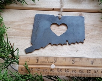 Connecticut State Christmas Ornament Raw Steel Personalize Engrave Love CT Metal Holiday Decoration Stocking Stuffer House Warming Gift