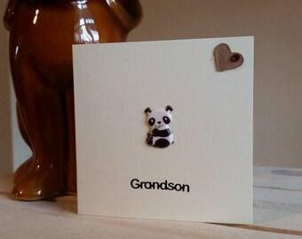 Grandson Birthday Card with Panda - Mini 3D Card Grandson - Special Grandson - Wildlife Animal Card - Cute Card - Unique Card