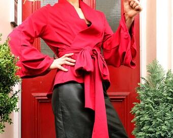 Red Japanese Kimono Style Jacket