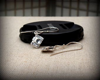 Camera dangle earrings, Sterling silver camera earrings