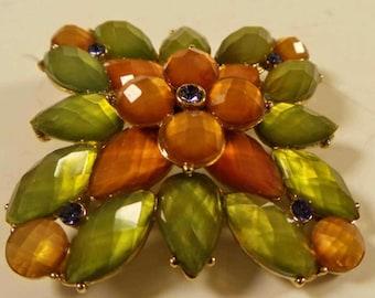 Vintage Rhinestone Jewelry Brooch Signed W