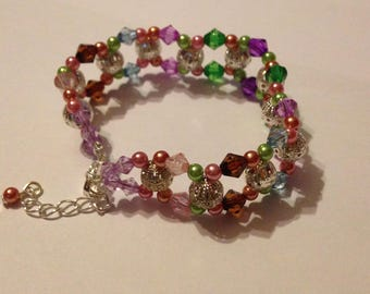Threaded Rainbow Bead Bracelet
