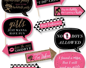 Funny Girls Night Out Photo Booth Props - Bachelorette Party Photo Booth Prop Kit - 10 Photo Props & Dowels - Bachelorette Party Selfie
