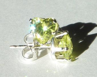 Peridot Heart-Shaped Cubic Zirconia Sterling Silver Studs August Birthstone