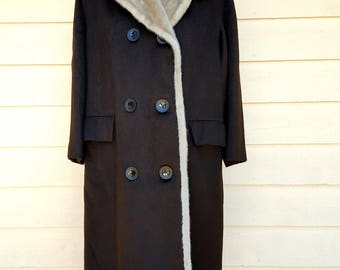 Vintage 1960's Dark Brown Wool w Faux Fur Lining Double Breasted Winter Coat