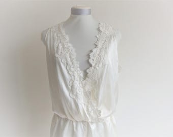 Jumpsuit wrap lingerie in silk and lace, nightwear, lingerie wedding, honeymoon night