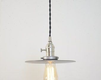 Unfinished Steel Flat Brushed Nickel Shade Industrial Pendant Light Fixture Plug In