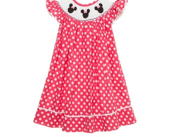 Smocked Mouse Ears with Bow Dress Bishop in Pink!
