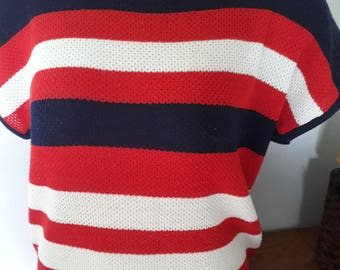 Vintage red white and blue top