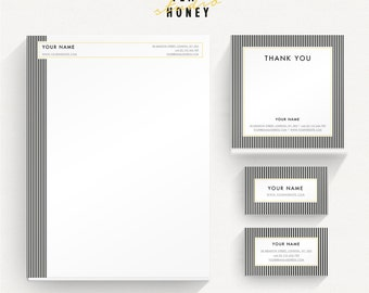 Branding kit business stationery design Business Card Thank you Gift Certificate Stationery kit set small business Lines stripes modern