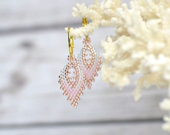 Delicate earrings beach jewelry pink earrings boho jewelry gift for teen gift for girlfriend romantic gifts for her seed bead earrings gift