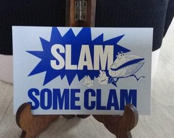 """Vintage Ivars Seafood Restaurant """"Slam Some Clam"""" Postcard"""