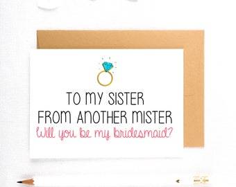 Funny Bridesmaid Card, Funny Asking Cards, Be My MOH, Bridesmaid Proposals, Be My Maid of Honor, Will You Be My