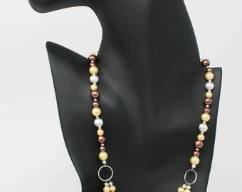 Double String Pearls Necklace and Earring Set