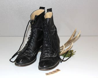 Vintage LAREDO ROPERS *Black Leather Lace Up Cowboy Boots *Made In The USA Ankle Boots *Retro Rodeo Wear -Men's 9