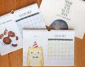 2017 Wall Art Calendar - A4 watercolor funny animals planner calendar