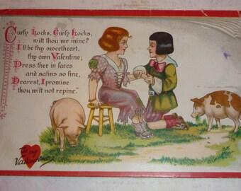 Curly Locks, Curly Locks, Whilt Thou Be Mine?  Antique Nursery Rhyme Valentine TUCK Postcard