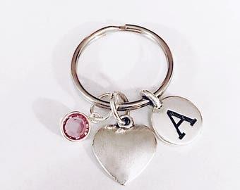 Birthstone Initial Heart Keychain, Personalized Keychain Gift, Best Friend Gift, Sister Gift, Mom Grandma Graduation Gift Keychain, Monogram