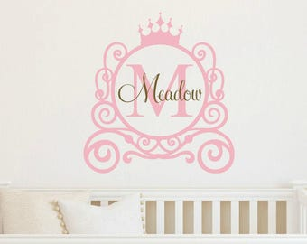 Princess Carriage Wall Decal Princess Wall Decal Princess Vinyl Decal Monogram Wall Decal Princess Room Decal Princess Room Decor