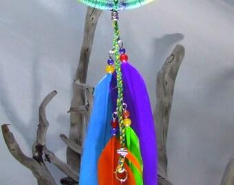 Rainbow Dream Catcher Boho Chic Dreamcatcher Small Hemp Dreamcatcher Boho Dreamcatcher Boho Bedroom Colorful Feathers Rainbow Dreamcatcher
