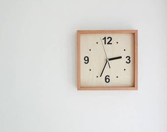 Cherry wood Square Wall Clock Silent No Ticking Handmade