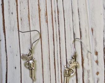 Gun Earrings, Revolver Earrings - 1 Pair
