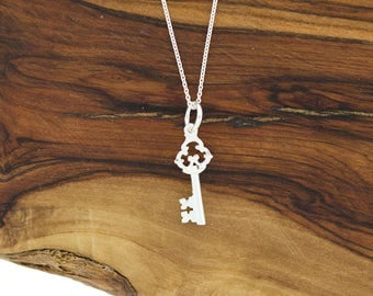 925 Sterling Silver Dainty Tiny Skeleton Key Charm Necklace