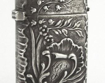 "c.1900 "" ADOLPHE FRONTIN "" Antiquen Art Nouveau Sterling Silver Vesta Match Safe"