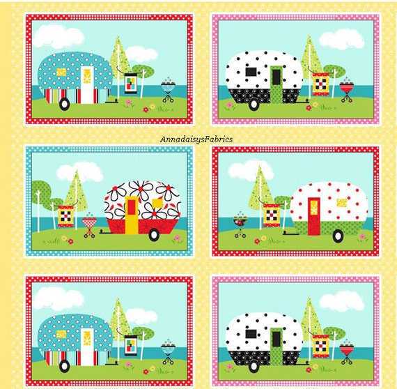 Retro Camper Quilt Fabric Panel Henry Glass Heg 6595p 44