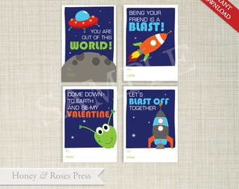 Printable Space Valentine's Day Cards . Kids Valentines Cards . Classroom Valentines . Boy Valentines  .  Instant Download