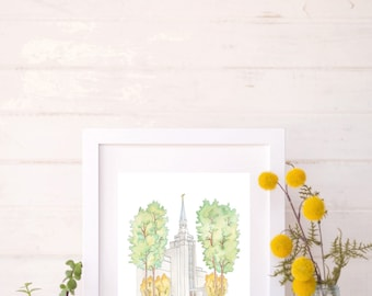 Boston, Massachusetts Temple Drawing and Watercolor Painting