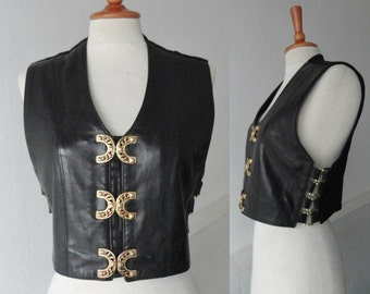 Black Vintage Leather Vest With Golden Closure // Pellissimo Paris // Made In France