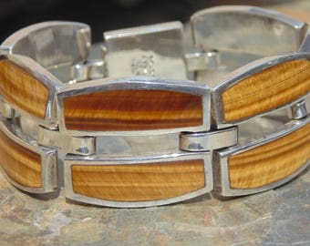 Mexican 950 Silver and Tigers Eye Stone Heavy Wide Link Bracelet - 72 Grams