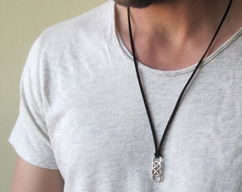 Mens Infinity Necklace , Mens Leather Necklace , Men Double Infinity Pendant , Eternity Necklace , Infinity Pendant , Friendship Necklace
