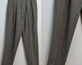90s Black White Plaid High Waist Pants / Tapered Leg Pants / Vintage 1990s Pleated Front Pants / Medium M Small S / Casablanca / 80s 1980s